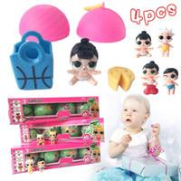 Wholesale Gif Sets - 4pcs set Dress Up Toys 7cm Boneca Surpresa Dress Change LOL SURPRISE DOLL Baby Tear Open Color Change Action Figure Toys Kids Gif