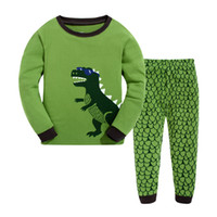 Wholesale Dinosaur Sets - Children Cotton Dinosaur Pajamas Boys Girl Long Sleeve Round Neck Two Pieces Sets Sleepwear Children Kids Clothing