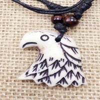Wholesale Eagle Bone Pendant Necklace - Free Shipping Collares Limited Real Chrysocolla Kolye Carved Tribal style totem Eagle Pendant Necklace Bionic Bone Length Adjustable Jewelry