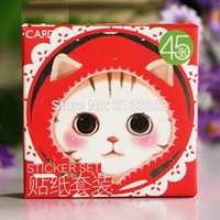 Wholesale Wholesale Girls Bedroom Sets - 45 PCS box Cute Cat Sticker Set Decoration Decal DIY Ablum Diary Scrapbooking Sealing Sticker Stationery For Girls