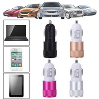 Wholesale Mini Ipad Car Micro Adapter - USB Car Charger phone charger Adapter Mini Aluminum alloy Material 2.1A 1A Dual 2 Port Universal For iphone ipad Samsung Galaxy S6 S5 note