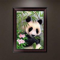 Wholesale Panda Embroidered - DIY 5D Partial Diamond Embroider Giant panda Round Diamond Painting Cross Stitch Kits Diamond Mosaic Home Decor 26*35cm