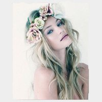 Wholesale Wreath Wholesalers - New Bohemia Handmade Flower Crown Wedding Wreath Bridal Headdress Headband Hairband Hair Band Accessories for Women Lady