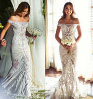 Wholesale Net Mermaid Wedding Dresses - 2017 Off Shoulder Silk Tulle Appliqued Bridal Dresses Mermaid Nets Court Train Guipure Lace Wedding Dresses Custom Made Free Shipping