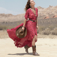 Wholesale Casual Holiday Dresses For Women - Summer Style Bohemian beach Dress For Women Ladies Boho Dresses Floral Printed Chiffon Party vacation Long Maxi holiday Dress Vestidos 2017