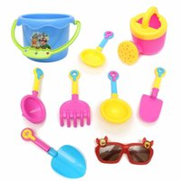 Vente en gros - 9pcs Kids Seaside Excavating Tools Beach Sand Play Jouets en eau Closed Spade Shovel Sunglasses Outdoor Fun Ensemble de pagaie Sablier