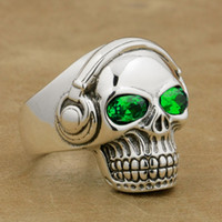 Wholesale Dj Plates - LINSION Green CZ Eyes 925 Sterling Silver DJ Skull Ring Studio Music Headphone Mens Biker Rock Punk Style 8Y811 US Size 7 to 15