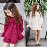 Wholesale Wholesale Doll Clothing American Girl - New Spring Kids Dresses Children Clothing Long Sleeve Cotton Girls Dress Casual Doll Ruffle Girl's Party Dress Red White A7061
