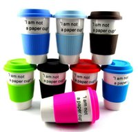 Wholesale Coffee Mugs Advertising - Ceramic cup coffee mug with lid and heat insulated silicone rubber case, logo can be printed as advertising promotional gift