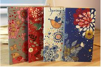 Wholesale Paper Note Books - Wholesale- 1pc Vintage Flower & Bird Pocket Notebook Note Pads Schedule Book Diaries Journals