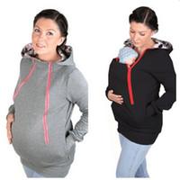 Wholesale Pregnancy Coat - Wholesale- 2016 Fashion Maternity Pregnancy Women Jackets Multifunctional Baby Wearing Jackckets Solid Kangaroo Coats