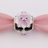 blasse perlen großhandel-Authentische 925 Sterling Silber Perlen Magnolie Bloom Pale Cerise Emaille Pink Cz Charms passt europäischen Pandora Style Schmuck Armbänder Halskette