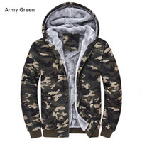 Wholesale tactical jacket hoodie - Wholesale- Winter Warm Mens Camouflage Coat Casual Hoodies Thickened Fleece Zipper Tactical Camo Jacket Army Green ;Chaqueta Militar Hombre
