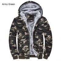 Wholesale camo fleece mens - Wholesale- Winter Warm Mens Camouflage Coat Casual Hoodies Thickened Fleece Zipper Tactical Camo Jacket Army Green ;Chaqueta Militar Hombre