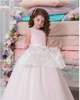 Wholesale Two Colour Wedding - Two Pieces Arabic 2017 Lace Flower Girl Dresses Vintage Child Dresses Beautiful Flower Girl Wedding Dresses