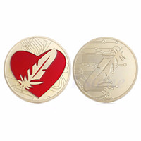 Wholesale Love Heart Umbrellas - 5pcs Feather Souvenir Gold Plated Red Heart Love Token Commemorative Coins Collectible Collection Christmas Gift