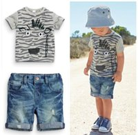 Wholesale Childrens Animal T Shirts - 2017 ins Monster T-shirts Jeans Shorts 2Pcs Boys Childrens Clothing Sets Summer Short Sleeve Kids tshirts Boutique Enfant Clothes Outfits
