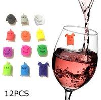 12 stück schröpfen großhandel-Saugnapf Gläser Marker Silikon Label Party gewidmet kleine Monster Glas Tasse Recognizer Tools 12 Stück = 1 Satz