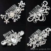 Leaf Flower Butterfly Designs Wedding Tiara Diamante Argenté Crystal Pearl Hair Combs Accessoires bijoux en épingle b128