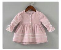 Wholesale Infant Lace Jacket - Infant kids princess coat baby girls stripe falbala sleeve outwear toddler kids hollow lace single breasted coat baby autumn clothing T3741