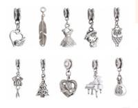 Wholesale tibetan mixed silver charms wholesale - Wholesale 100pcs Mixed Tibetan Silver Charm Christmas Silver Charms Pendant Big Hole Beads Fit European Charm Pandora Bracelet Jewelry DIY