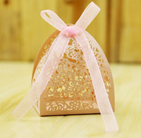 Wholesale Wholesale Pink Wedding Wrapping Paper - Rose laser cut hollow candy box wedding birthday shower party favors gift bags with ribbon romatic pink white festive decoration