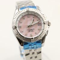 Wholesale Ladies Diamond Pink Gold Watch - 2017 new luxury brand watches women pink dial AAA big diamonds quartz movement sapphire original clasp ladies watches 35MM free shipping