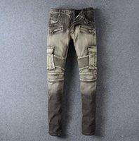 Wholesale Stylish Capris - new designer straight jeans for men Stylish Fashion Stretch Slim Acid Black Washed Mens jeans balmain biker jeans Plus Size- 959