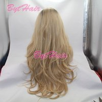 Wholesale Two Tone Synthetic Lace Wig - Bythair Bouncy Wavy Ombre Blonde Two Tone Synthetic Lace Front Wig Dark Root  Natural Blonde Heat Resistant Fiber Women Hair Wigs