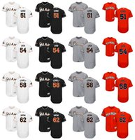 Wholesale Authentic Jersey 58 - 2017 Men's Miami Marlins Authentic Jersey #51 Suzuki Ichiro #54 Wei-Yin Chen #58 Dan Straily #62 Jose Urena Flex Base Baseball jerseys