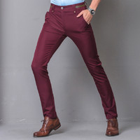 Wholesale Business Trousers - Wholesale- Men's Fashion Pants New Design Casual Pants Solid Slim Fit Full Length Hot Trousers Business Style Male New Trends Pants