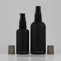 Wholesale Bottled Water Pumps - 50mll black frosted bottle with black pump,for lotion essential oli moisturizer facial water