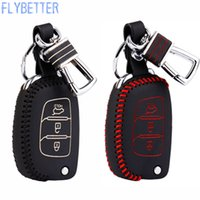 Wholesale Hyundai Key Case - LYBETTER Car Leather Remote Control Car Keychain Key Cover Case For Hyundai IX25 IX35 I40 3Button Flip Key L1573