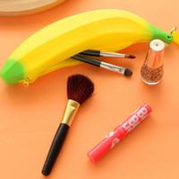 linda caja de lápices de silicona al por mayor-Hombres Mujeres Niñas Lindo Precioso Banana de Silicona Banana Monederos Cero Dinero Lápiz Bolígrafo Bolso Monedero Bolsa