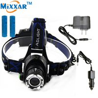 Wholesale Zoomable Focus Flashlight - Zoomable LED Headlamp Cree XM-L T6 2000LM Flashlight HeadLight Focus Rechargeable Torch 2x18650 Batteries and 2xCharger
