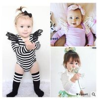 Wholesale Winter Bodysuits For Babies - Ins Bodysuit Baby Lace Stripe 2017 White Body Baby Girl Bodysuits Long Sleeve Jumpsuit Overalls For Children Infant Clothing