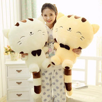 Wholesale Low Price Cat Toys - Wholesale- 45CM Lovely Big Face Smiling Cat Stuffed Plush Toys Tail Soft Animal Dolls High Quality Lowest Price Best Gifts for Kids