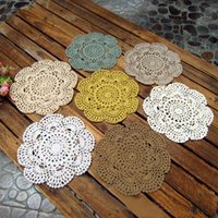 Wholesale Crochet Cup Placemat - Wholesale-Vintage Floral Hand Crochet Table Mat Handmade Solid Cotton Lace Knitted Doily Cup Pads Doilies Crochet Placemat Coasters 20CM