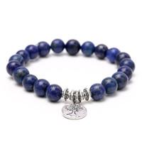 achat buddhistische perlen großhandel-Achat Armband Mode Yoga Armband Handgelenk Mala Perlen Baum des Lebens Heilendes Armband Naturstein Buddhistischer Schmuck