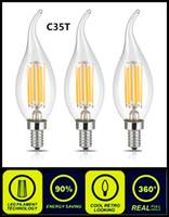 Wholesale E27 Clear Bulb - 2W 4W LED Filament Candle Light Bulb E14 E27 E26 B15 B22 Candelabra Base C35T Edison Led Candle Lamp