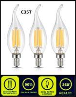 ingrosso bulbi base b22-2W 4W LED Lampadina a candela a filamento E14 E27 E26 B15 B22 Candelabro Base C35T Edison Lampada a candela a LED