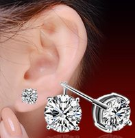 Wholesale Cheap Ear Piercing Earrings - Earrings for Men And Women Girls Fashion New Jewelry Cheap Stud Earring 925 Sterling Silver Cute Four Caw Pierced Ears for Sale