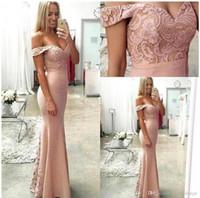 Wholesale petite bridesmaid dresses elegant online - Off the Shoulder Sweetheart Mermaid Prom Dresses Lace Top Floor Length Elegant Evening Dresses Cheap Bridesmaid Dresses Party Gowns