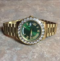 Wholesale Mens Big Case Watches - 4 colors 43mm full big diamonds gold case waterproof automatic watches green dial mens luxury Luminous watch aaa sapphire glass wristwatch
