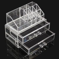 Wholesale Acrylic Drawers Wholesale - High Quality Transparent Two Layer Drawers Acrylic Cosmetic Organizer Drawer Makeup Case Storage Insert Holder Box Free Shipping SF-1063