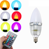 Wholesale Color Changing Candles Remote - E12 RGB LED Bulb 3W Flash Color Changing Chandelier Candelabra Candle Light LED Lamp + Remote Controller Lighting AC85-265V