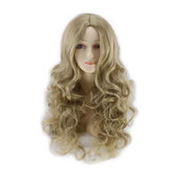 Wholesale Wigs For Carnival - Cheap European Cosplay Cinderella Long Curly Wig Hair Light Blonde for Women Girl Ladies Harajuku Anime Heat Resistant Cendrillone Hair Wig