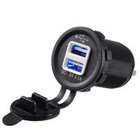 ingrosso presa di corrente per barche-Presa di corrente impermeabile Dual 2 USB Charger 1A 2.1A per Car Boat Marine Mobile con presa LED (12V)