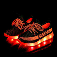 Wholesale Neon Kids - Wholesale big kids boys girls Athletic lights up LED luminous shoes Nice Bright silver Colorful sole 580 casual children neon sneakers Shoes