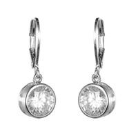 Wholesale Bezel Round Earrings - KIVN Fashion Jewelry Simple Classic Bezel Round 8mm CZ Cubic Zirconia Earrings for Women